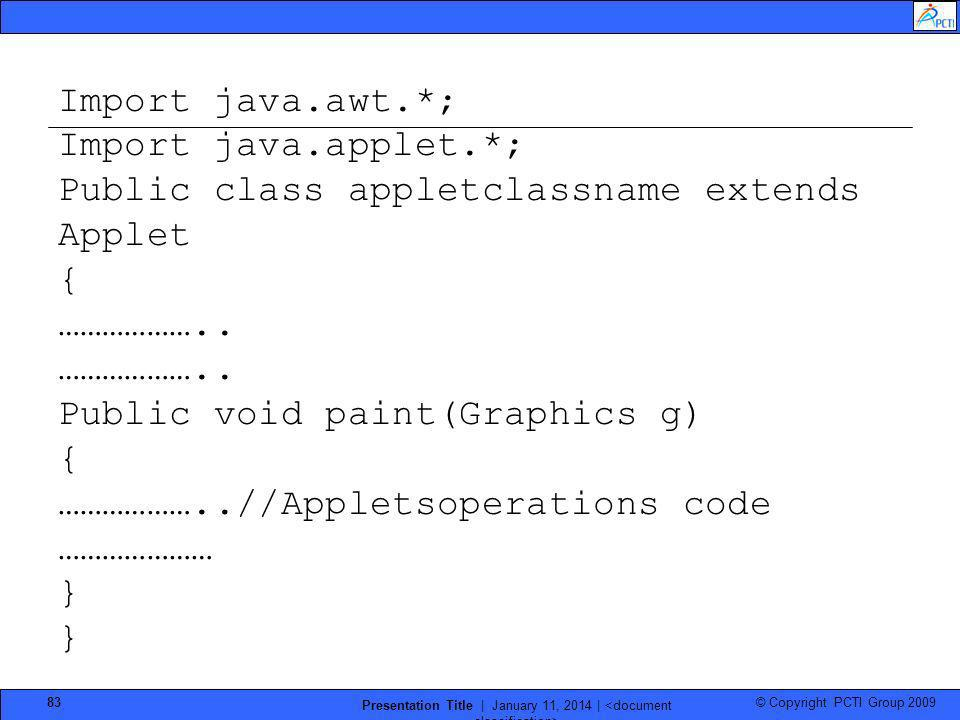 © Copyright PCTI Group 2009 Presentation Title | January 11, 2014 | 83 Import java.awt.*; Import java.applet.*; Public class appletclassname extends A