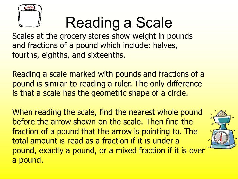 A shows 9/16 pound.D shows 2 1/2 pounds. B shows 1 pound.