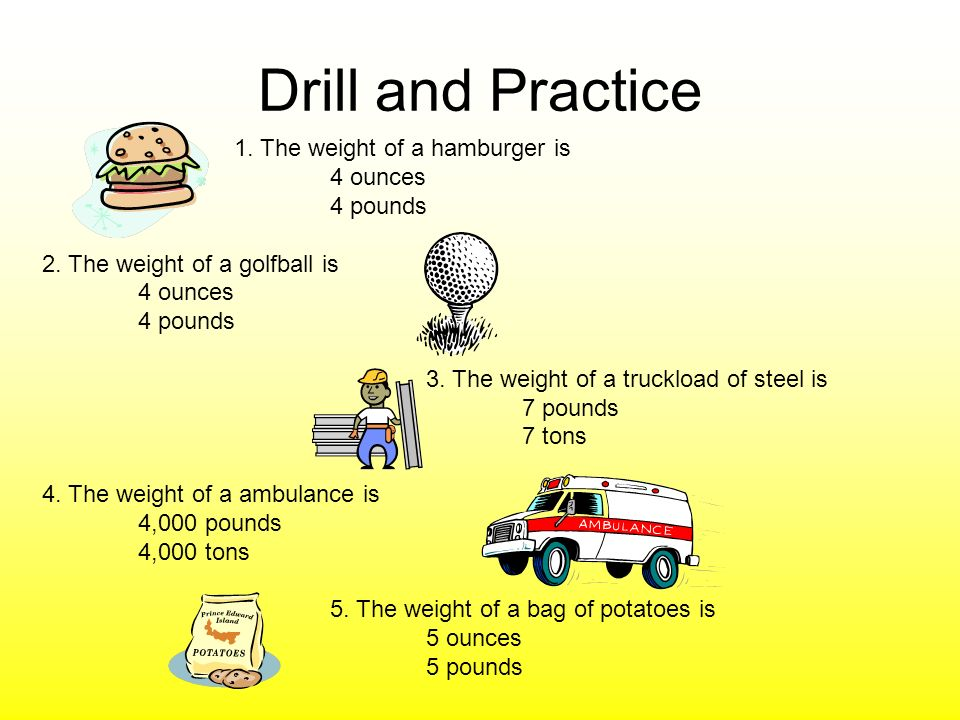 Drill and Practice 1. The weight of a hamburger is 4 ounces 4 pounds 2.