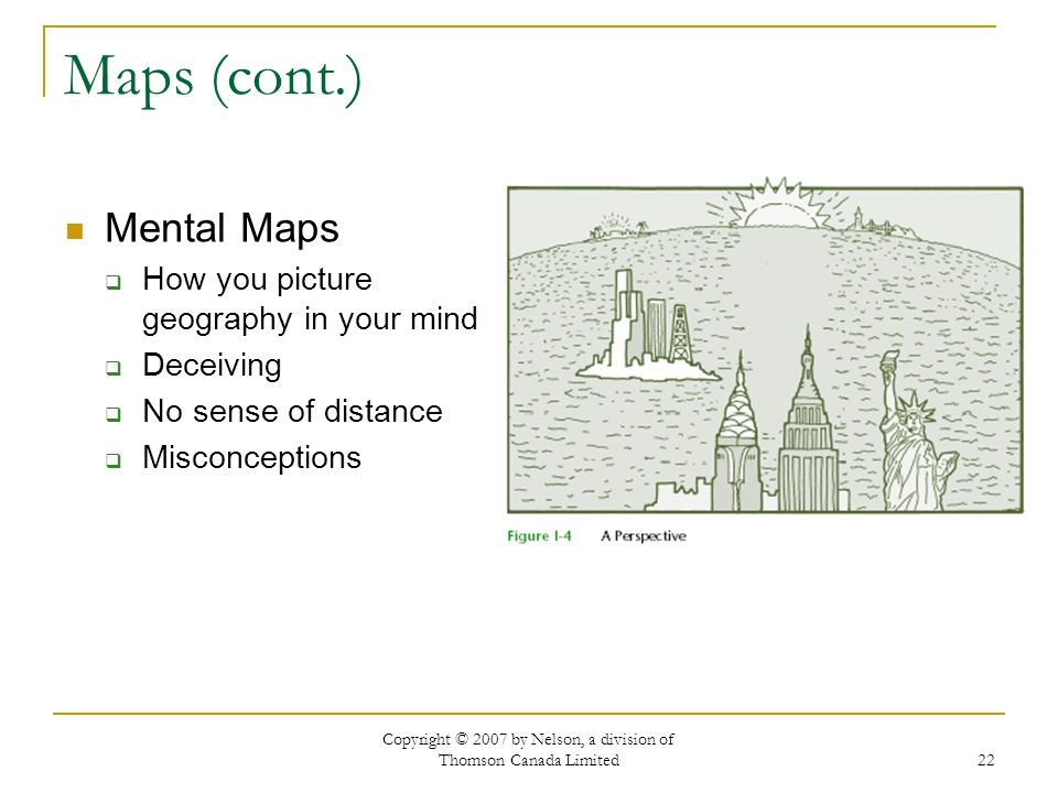 Copyright © 2007 by Nelson, a division of Thomson Canada Limited 22 Maps (cont.) Mental Maps How you picture geography in your mind Deceiving No sense