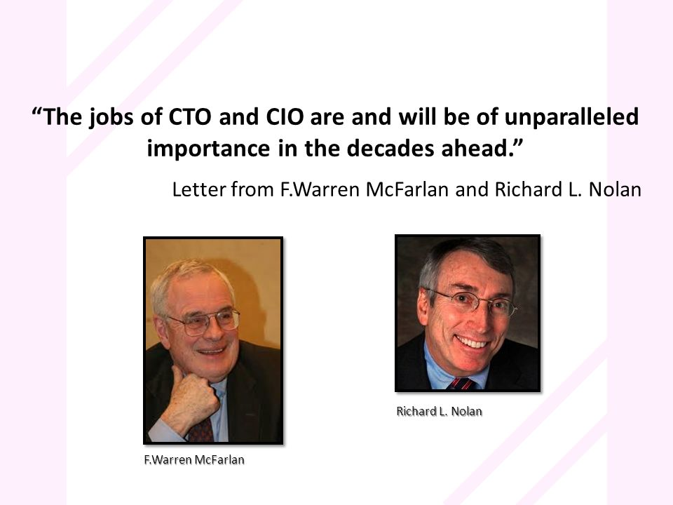 The jobs of CTO and CIO are and will be of unparalleled importance in the decades ahead. Letter from F.Warren McFarlan and Richard L. Nolan F.Warren M