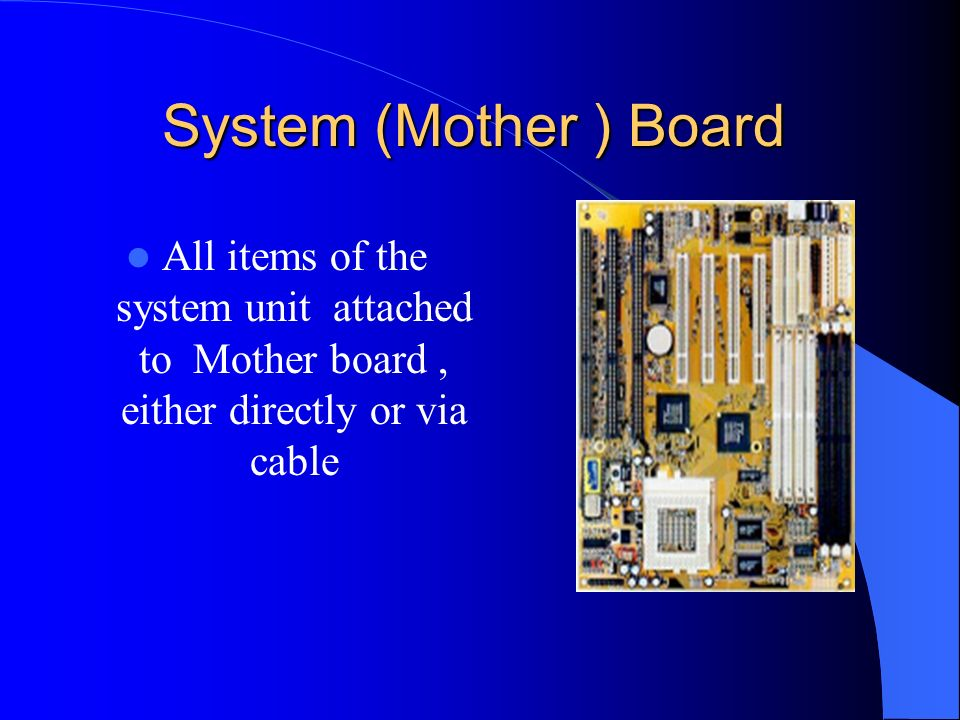 System Unit The name given to Main PC box It Houses items like …. Mother Board CPU RAM CD Floppy Disk