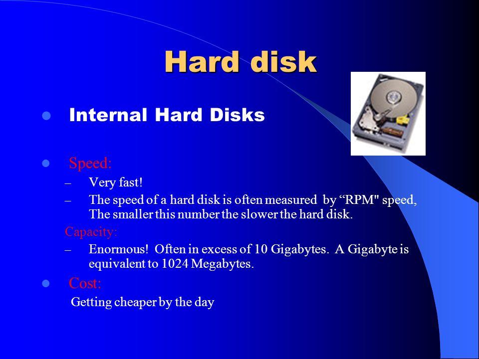 Storage Device Hard desk ( Internal – External ) Zip Driver Diskette CD desk DVD driver Jaz Disks Back up tape