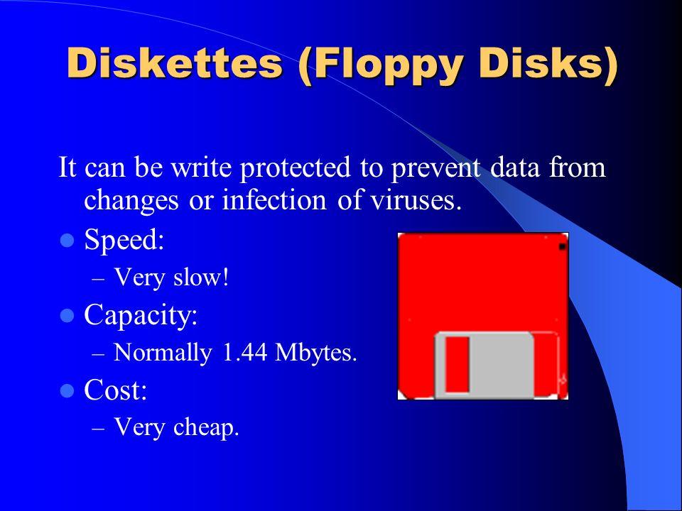 Jaz Disks Speed: – Slower than hard disks but ideal for backup. Capacity: – Around 2 Gigabytes (2048 Megabytes).