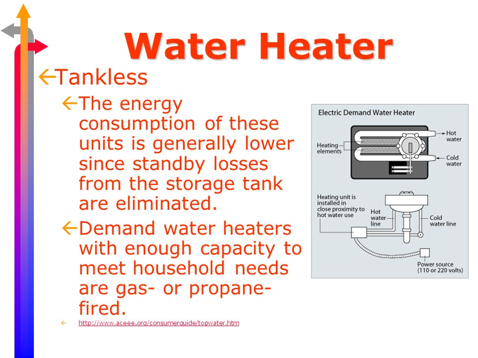 Water Heater ßTankless ßThe energy consumption of these units is generally lower since standby losses from the storage tank are eliminated. ßDemand wa