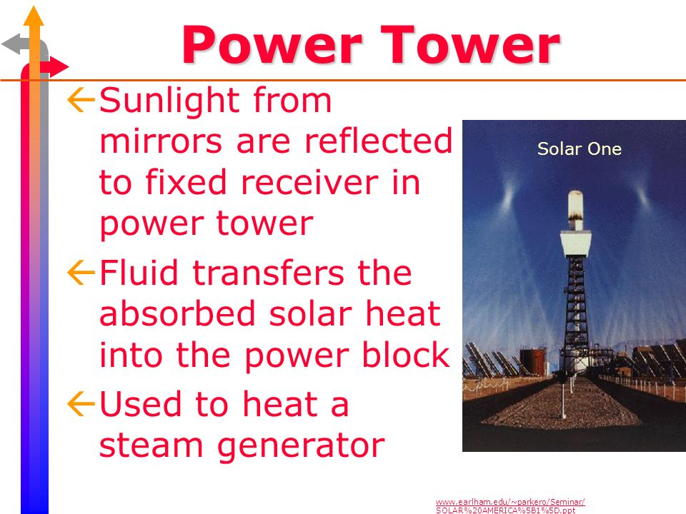 Power Tower ßSunlight from mirrors are reflected to fixed receiver in power tower ßFluid transfers the absorbed solar heat into the power block ßUsed