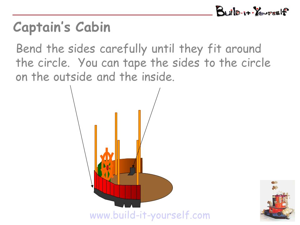 Captains Cabin www.build-it-yourself.com Bend the sides carefully until they fit around the circle. You can tape the sides to the circle on the outsid