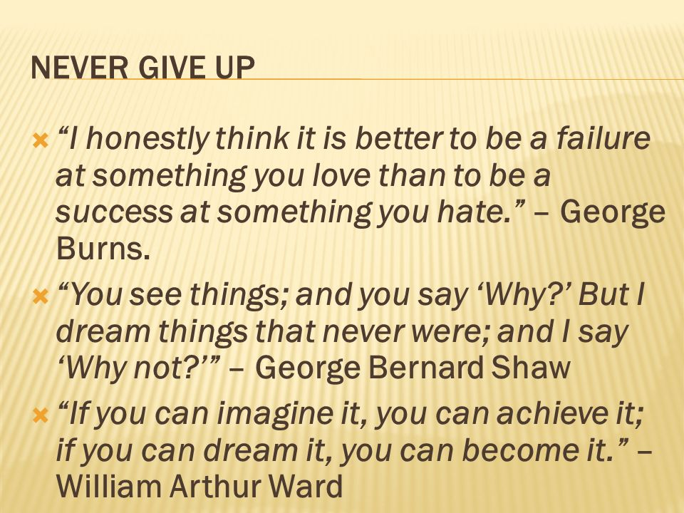 NEVER GIVE UP I honestly think it is better to be a failure at something you love than to be a success at something you hate. – George Burns. You see