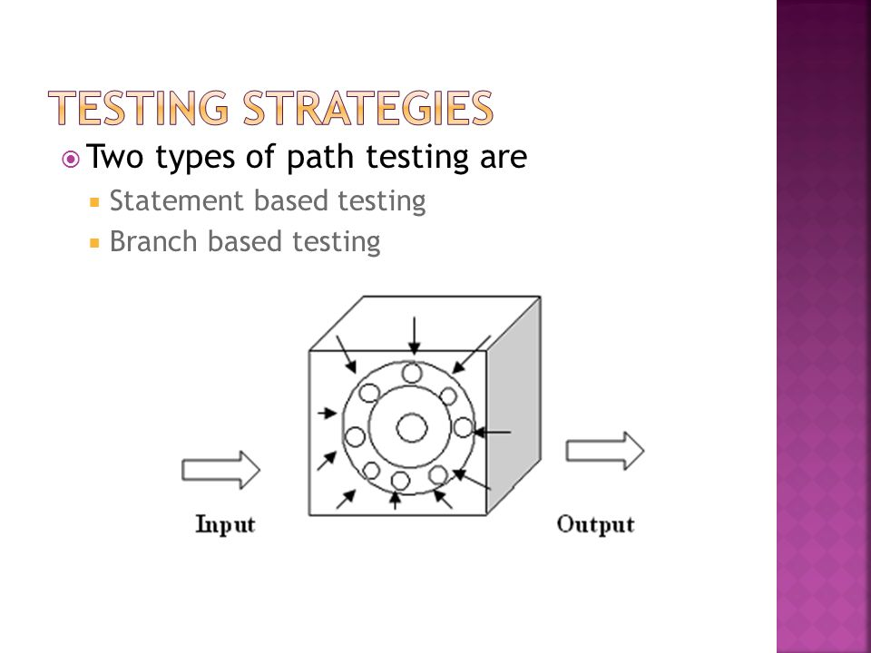 Two types of path testing are Statement based testing Branch based testing