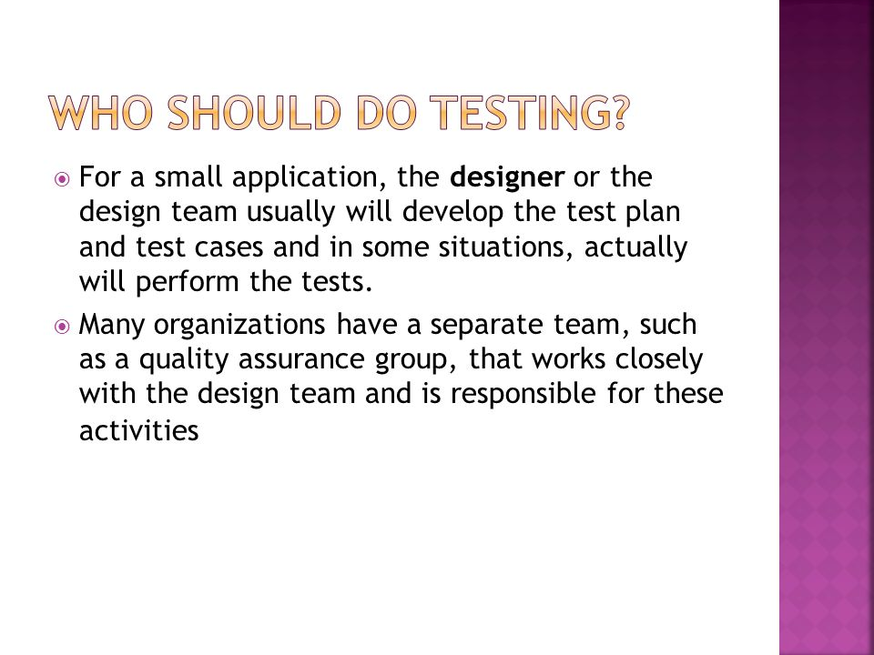 For a small application, the designer or the design team usually will develop the test plan and test cases and in some situations, actually will perfo