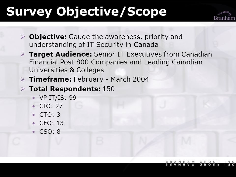 Survey Objective/Scope Objective: Gauge the awareness, priority and understanding of IT Security in Canada Target Audience: Senior IT Executives from Canadian Financial Post 800 Companies and Leading Canadian Universities & Colleges Timeframe: February - March 2004 Total Respondents: 150 VP IT/IS: 99 CIO: 27 CTO: 3 CFO: 13 CSO: 8
