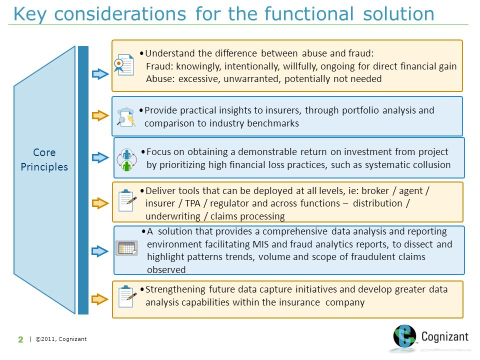| ©2011, Cognizant 2 Key considerations for the functional solution Provide practical insights to insurers, through portfolio analysis and comparison to industry benchmarks Understand the difference between abuse and fraud: Fraud: knowingly, intentionally, willfully, ongoing for direct financial gain Abuse: excessive, unwarranted, potentially not needed Focus on obtaining a demonstrable return on investment from project by prioritizing high financial loss practices, such as systematic collusion Deliver tools that can be deployed at all levels, ie: broker / agent / insurer / TPA / regulator and across functions – distribution / underwriting / claims processing Core Principles A solution that provides a comprehensive data analysis and reporting environment facilitating MIS and fraud analytics reports, to dissect and highlight patterns trends, volume and scope of fraudulent claims observed Strengthening future data capture initiatives and develop greater data analysis capabilities within the insurance company