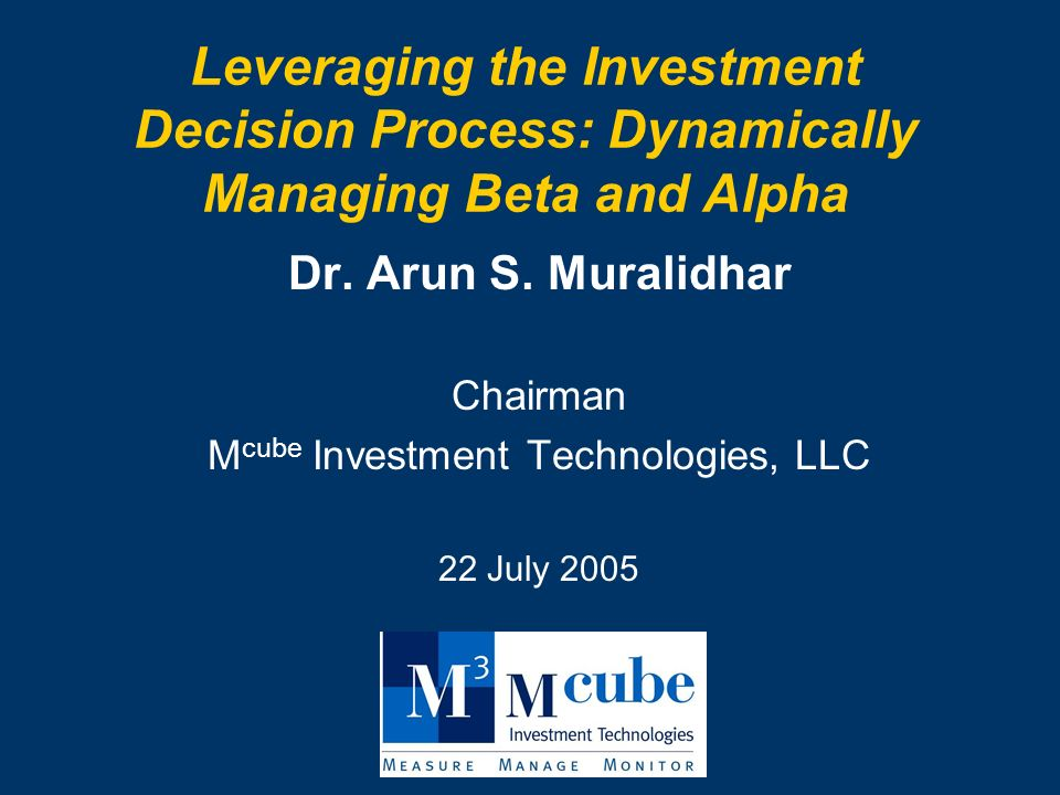 Leveraging the Investment Decision Process: Dynamically Managing Beta and Alpha Dr.