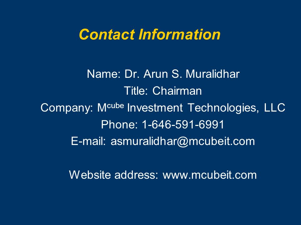 Contact Information Name: Dr.Arun S.