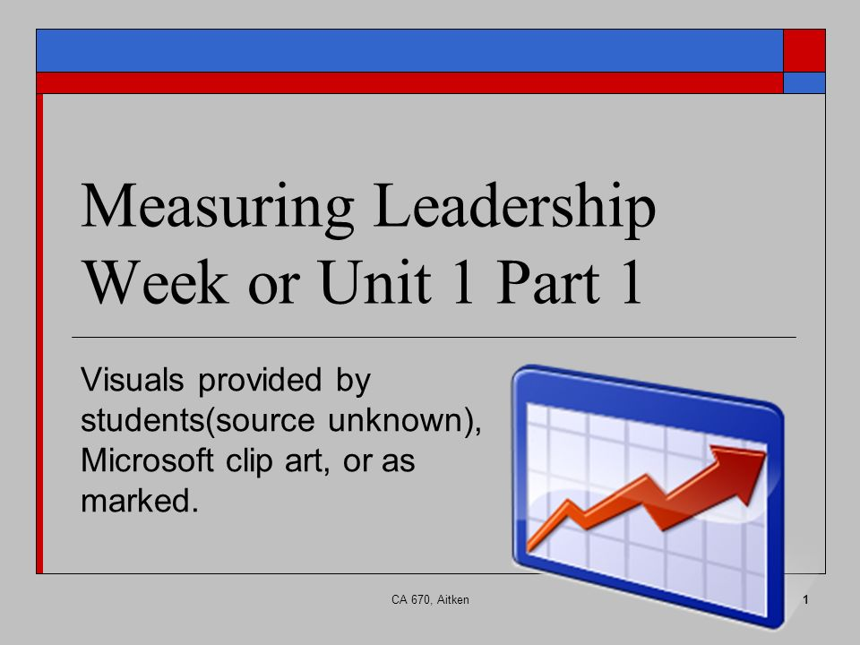 CA 670, Aitken1 Measuring Leadership Week or Unit 1 Part 1 Visuals provided by students(source unknown), Microsoft clip art, or as marked.