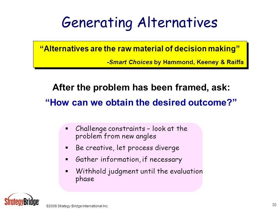 ©2006 Strategy Bridge International Inc. 10 Generating Alternatives Alternatives are the raw material of decision making -Smart Choices by Hammond, Ke