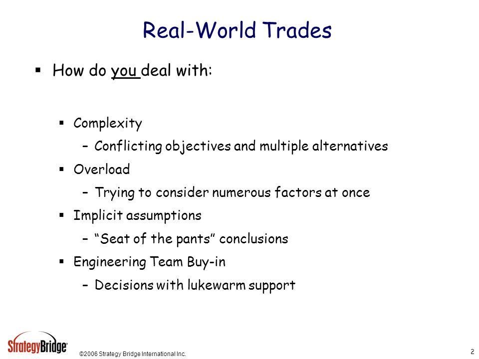 ©2006 Strategy Bridge International Inc.23 Summary Why have a consistent trade study methodology.