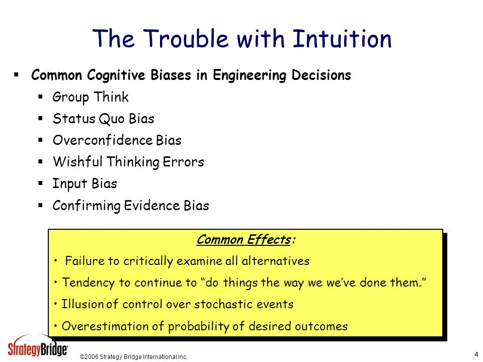 ©2006 Strategy Bridge International Inc. 4 The Trouble with Intuition Common Cognitive Biases in Engineering Decisions Group Think Status Quo Bias Ove