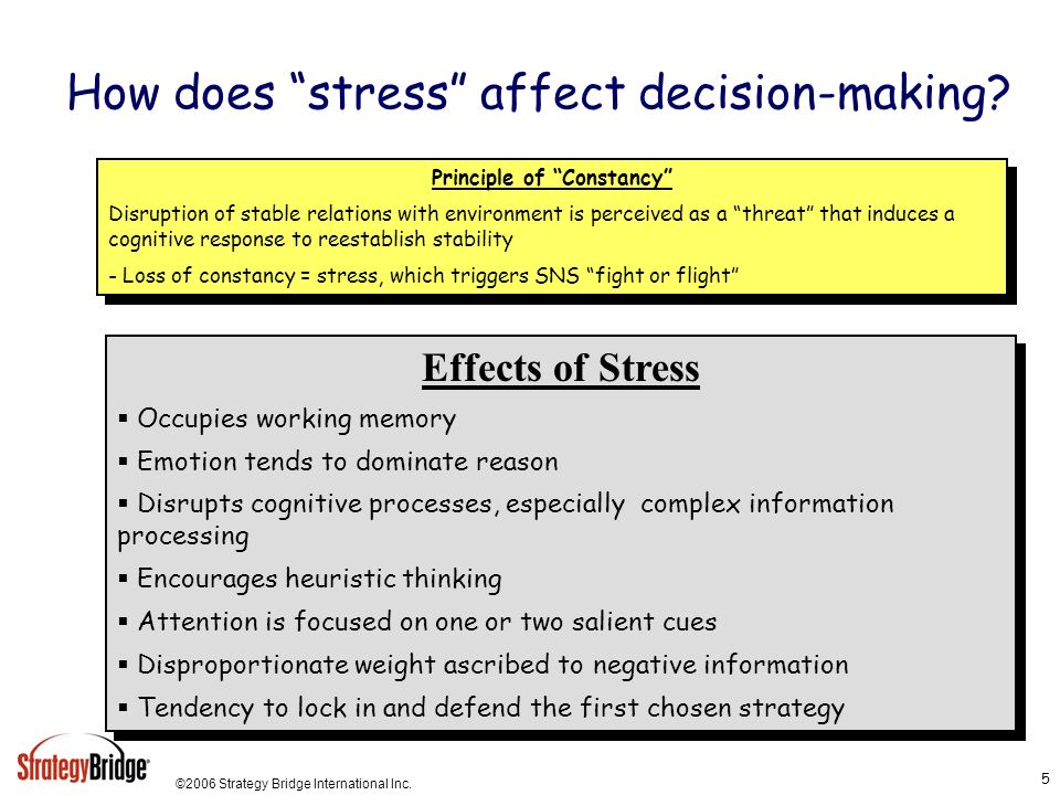 ©2006 Strategy Bridge International Inc. 5 How does stress affect decision-making? Principle of Constancy Disruption of stable relations with environm