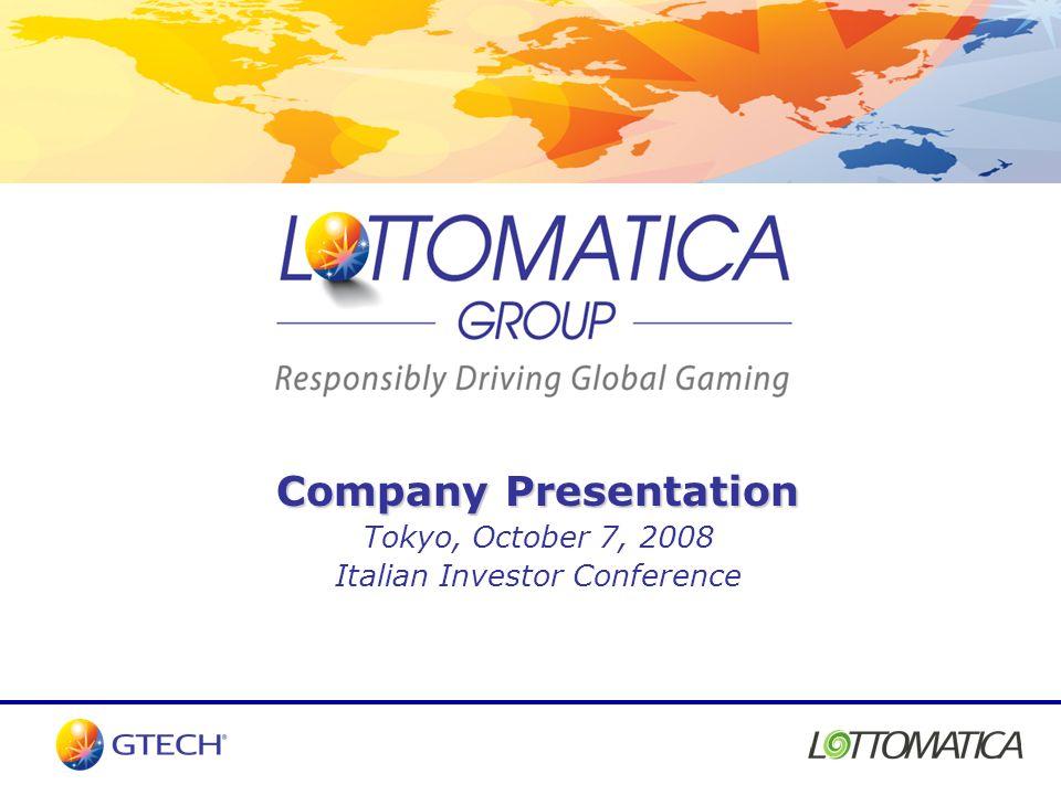 Company Presentation Tokyo, October 7, 2008 Italian Investor Conference