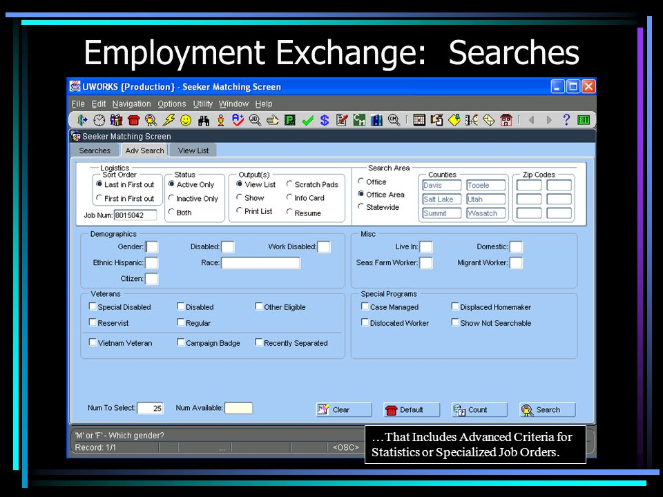Employment Exchange: Searches Seeker Matching System to Find Seekers that Meet Specified Criteria…