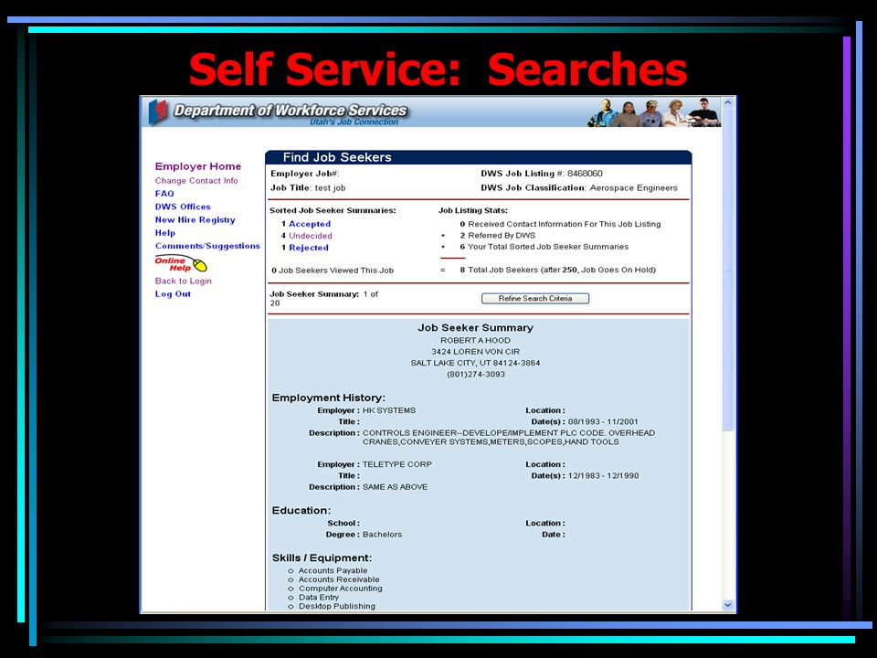 Employment Exchange: Searches