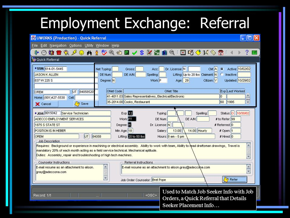 Employment Exchange: Excel Export