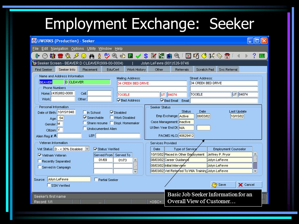 Employment Exchange: Seeker Basic Job Seeker Information for an Overall View of Customer…