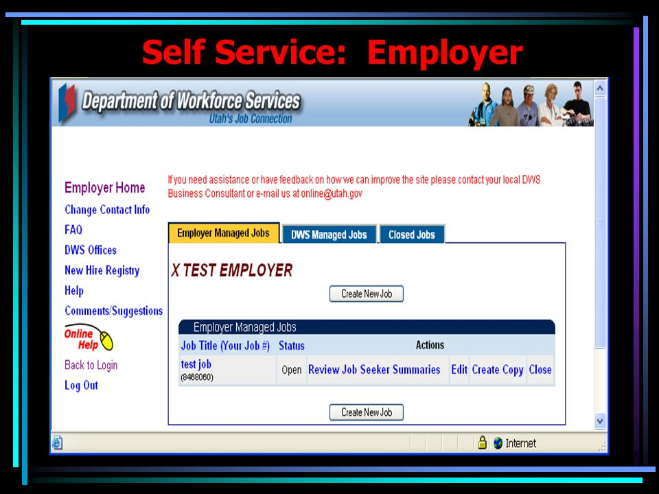 Employment Exchange: Employer One-Screen Design for Employer Information Update.