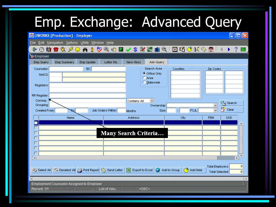 Emp. Exchange: Advanced Query Many Search Criteria…