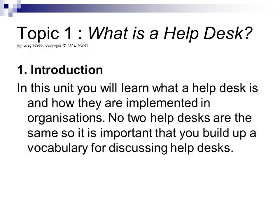 Help Desk Procedures