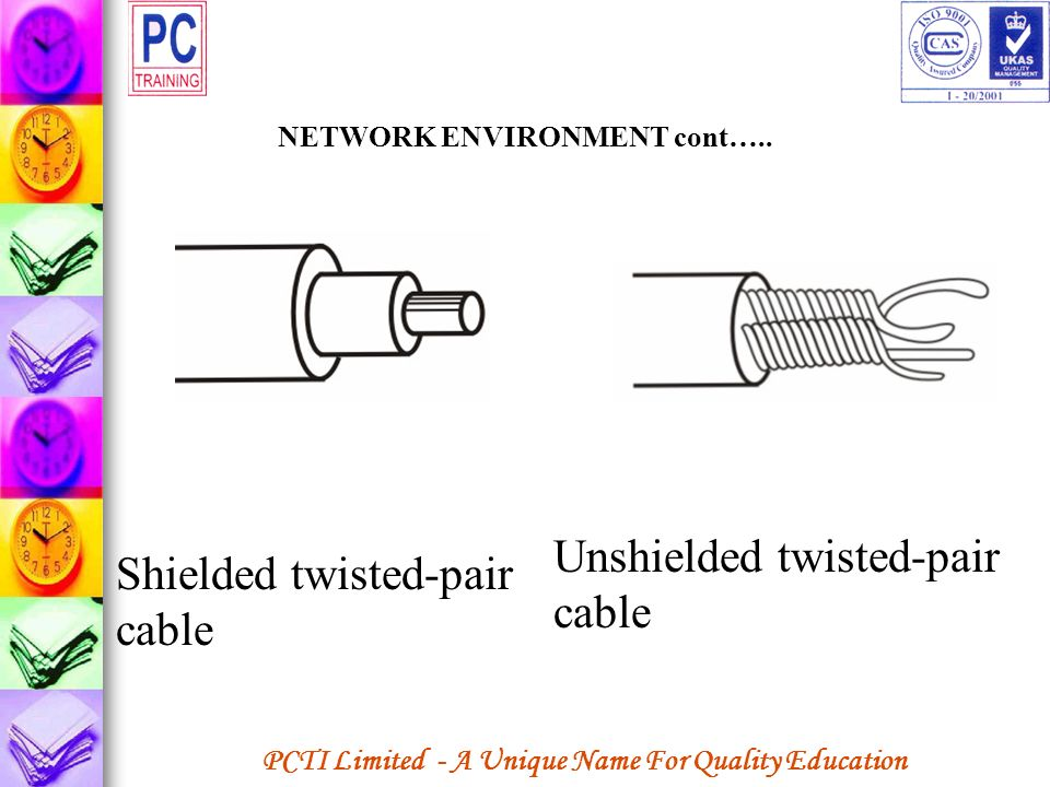 PCTI Limited - A Unique Name For Quality Education NETWORK ENVIRONMENT cont….. Unshielded twisted-pair cable Shielded twisted-pair cable