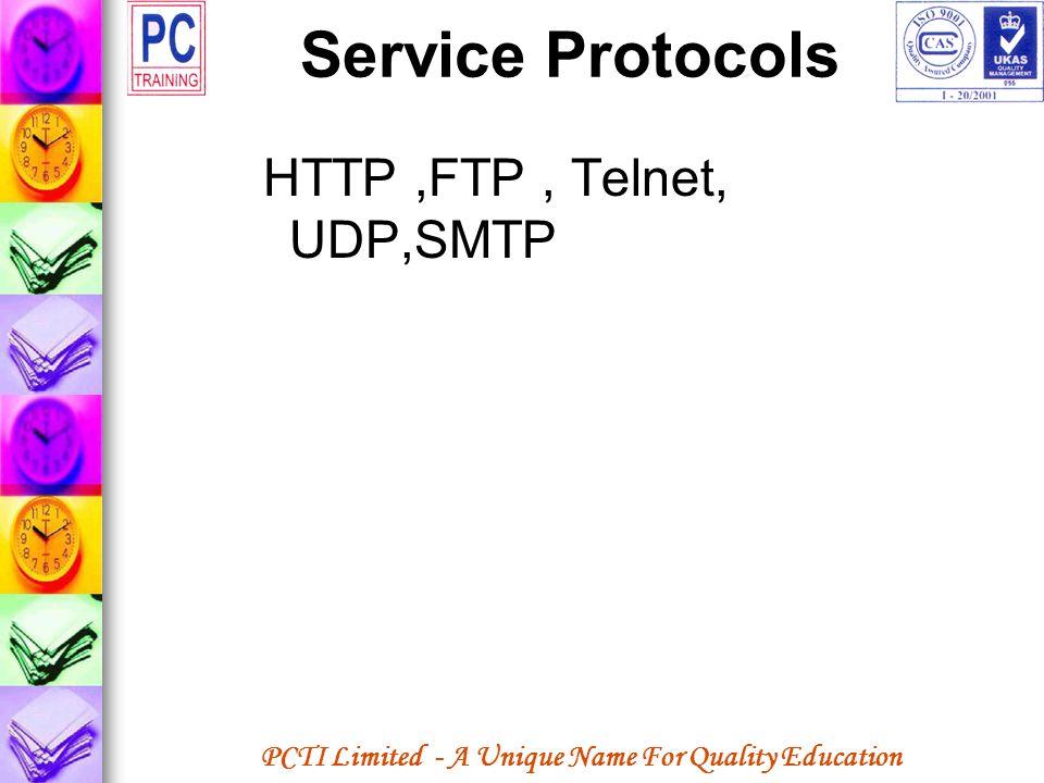 PCTI Limited - A Unique Name For Quality Education Service Protocols HTTP,FTP, Telnet, UDP,SMTP
