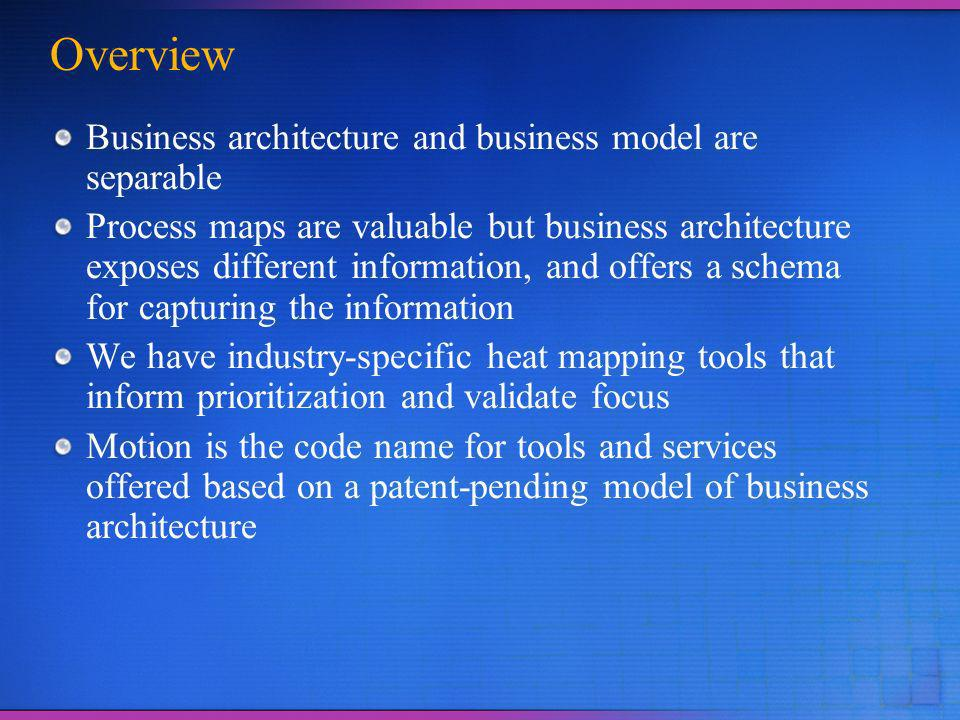 Overview Business architecture and business model are separable Process maps are valuable but business architecture exposes different information, and offers a schema for capturing the information We have industry-specific heat mapping tools that inform prioritization and validate focus Motion is the code name for tools and services offered based on a patent-pending model of business architecture