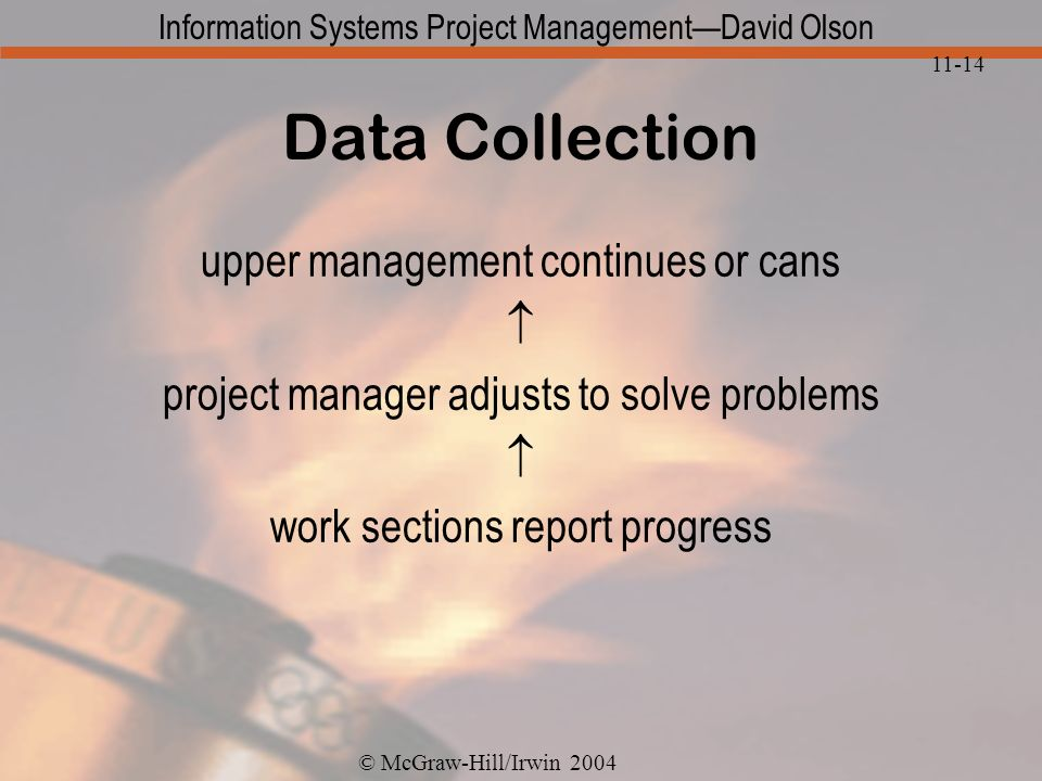 © McGraw-Hill/Irwin 2004 Information Systems Project ManagementDavid Olson 11-14 Data Collection upper management continues or cans project manager adjusts to solve problems work sections report progress
