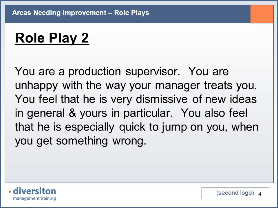 (second logo) Areas Needing Improvement – Role Plays 4 Role Play 2 You are a production supervisor. You are unhappy with the way your manager treats y