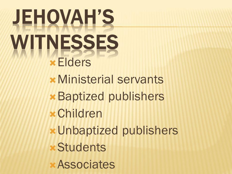 Elders Ministerial servants Baptized publishers Children Unbaptized publishers Students Associates
