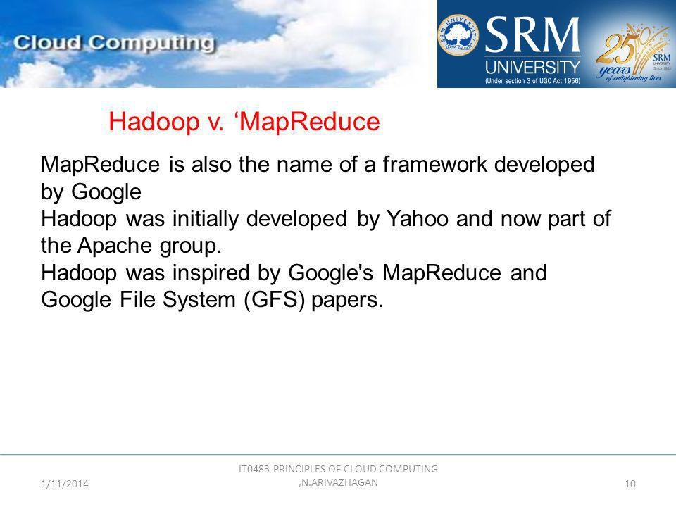 1/11/2014 IT0483-PRINCIPLES OF CLOUD COMPUTING,N.ARIVAZHAGAN 10 MapReduce is also the name of a framework developed by Google Hadoop was initially dev