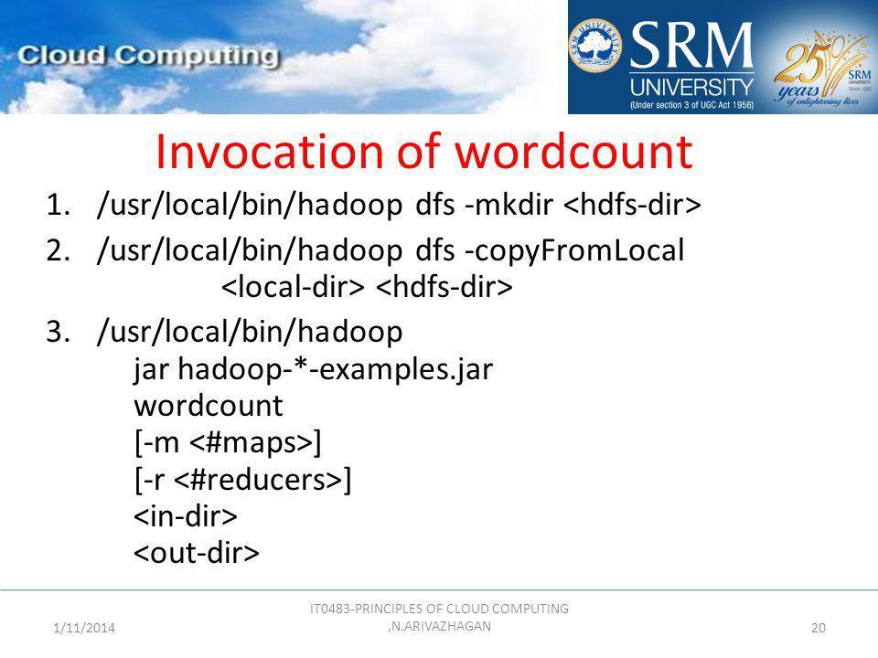 Invocation of wordcount 1./usr/local/bin/hadoop dfs -mkdir 2./usr/local/bin/hadoop dfs -copyFromLocal 3./usr/local/bin/hadoop jar hadoop-*-examples.ja