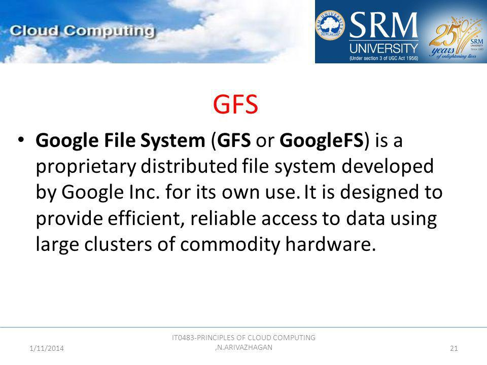 GFS Google File System (GFS or GoogleFS) is a proprietary distributed file system developed by Google Inc. for its own use. It is designed to provide