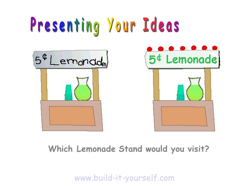 Which Lemonade Stand would you visit? www.build-it-yourself.com