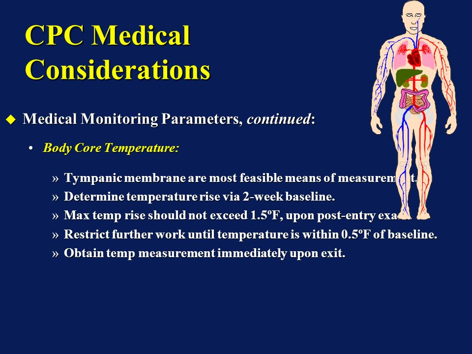 CPC Medical Considerations Medical Monitoring Parameters, Continued: Medical Monitoring Parameters, Continued: Body Weight, Continued:Body Weight, Continued: Suggested water weight loss parameters:Suggested water weight loss parameters: »Body weight loss should not exceed 1.5%.