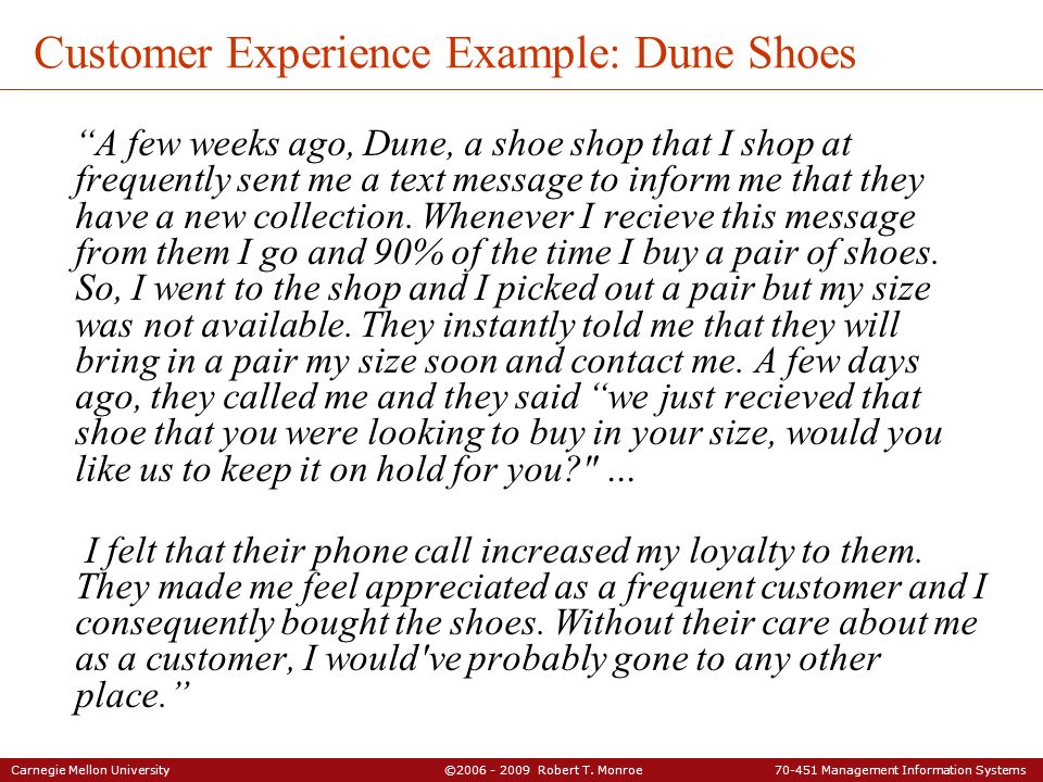 Carnegie Mellon University ©2006 - 2009 Robert T. Monroe 70-451 Management Information Systems Customer Experience Example: Dune Shoes A few weeks ago