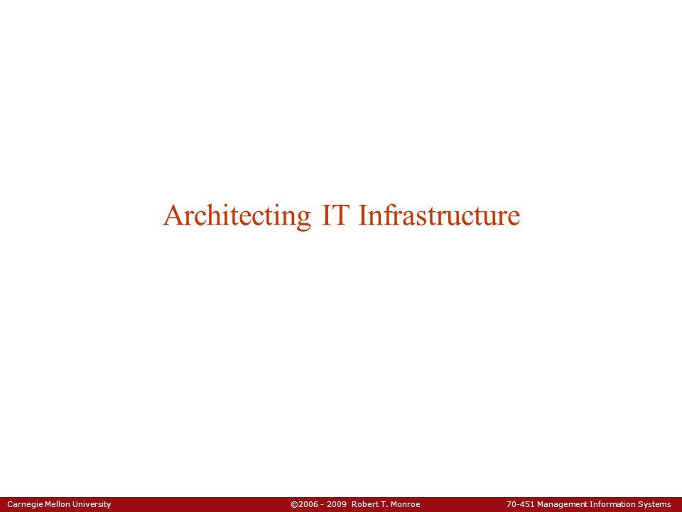 Carnegie Mellon University ©2006 - 2009 Robert T. Monroe 70-451 Management Information Systems Architecting IT Infrastructure