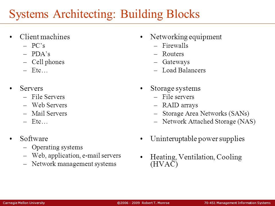 Carnegie Mellon University ©2006 - 2009 Robert T. Monroe 70-451 Management Information Systems Systems Architecting: Building Blocks Client machines –