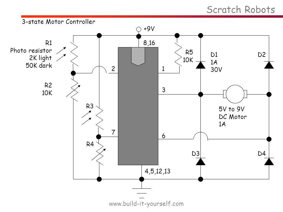 Scratch Robots www.build-it-yourself.com 3-state Motor Controller +9V R1 Photo resistor 2K light 50K dark R2 10K R3 R4 7 8,16 4,5,12,13 21 3 6 R5 10K 5V to 9V DC Motor 1A D1 1A 30V D4 D2 D3