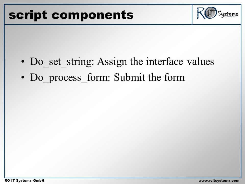 Copyright 2001 RO IT Systems GmbH RO IT Systems GmbHwww.roitsystems.com script components Do_set_string: Assign the interface values Do_process_form: Submit the form