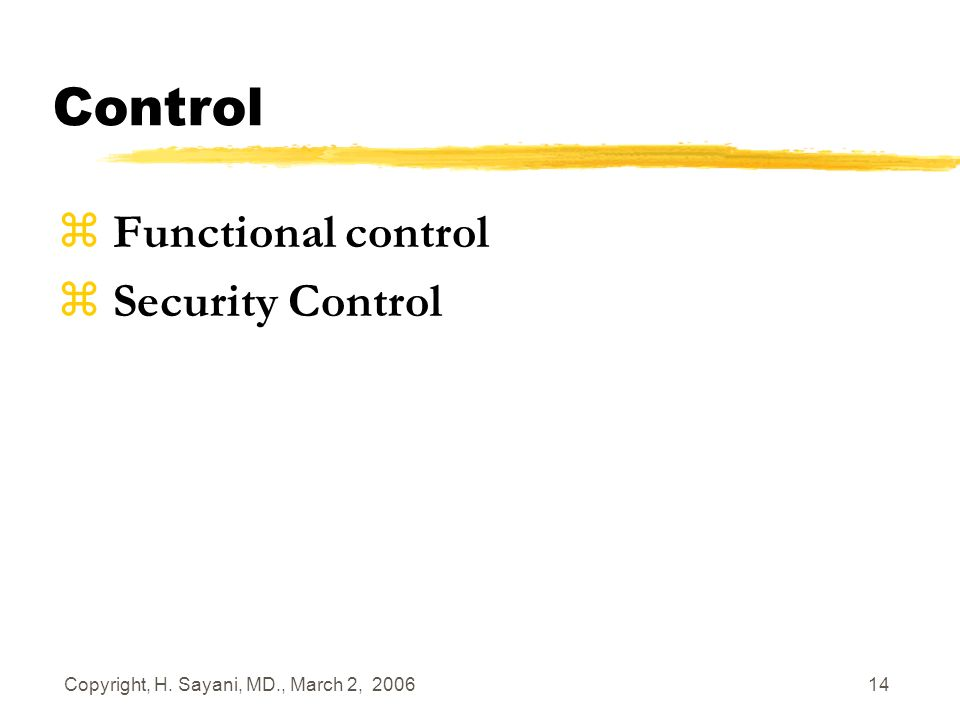 Copyright, H. Sayani, MD., March 2, 2006 14 Control z Functional control z Security Control