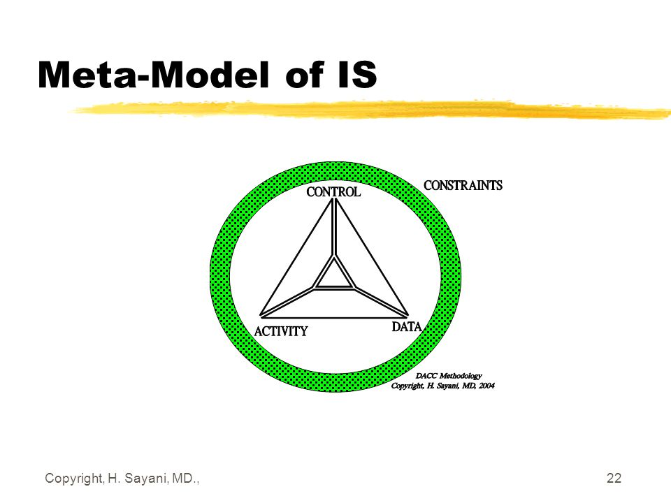 Copyright, H. Sayani, MD., March 2, 2006 22 Meta-Model of IS