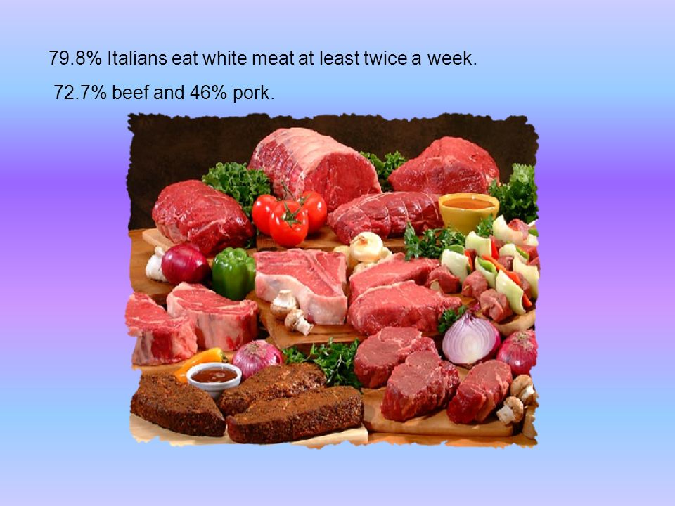 79.8% Italians eat white meat at least twice a week. 72.7% beef and 46% pork.